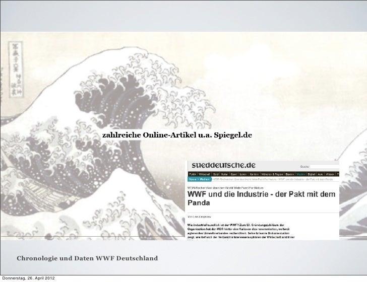 Chronologie und Daten WWF DeutschlandDonnerstag, 26. April 2012