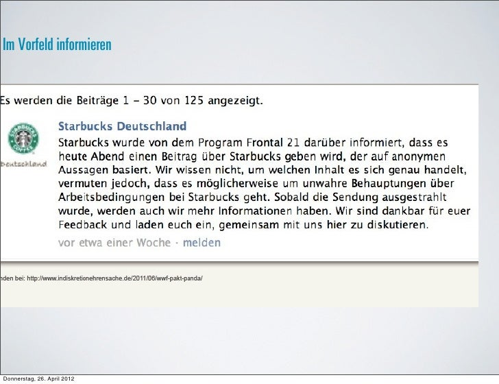 Im Vorfeld informierenDonnerstag, 26. April 2012
