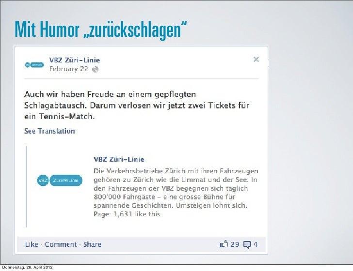 """Mit Humor """"zurückschlagen""""Donnerstag, 26. April 2012"""