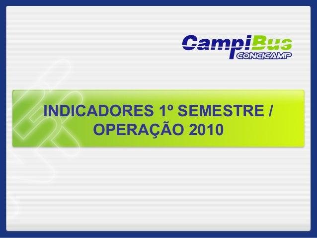 INDICADORES 1º SEMESTRE / OPERAÇÃO 2010