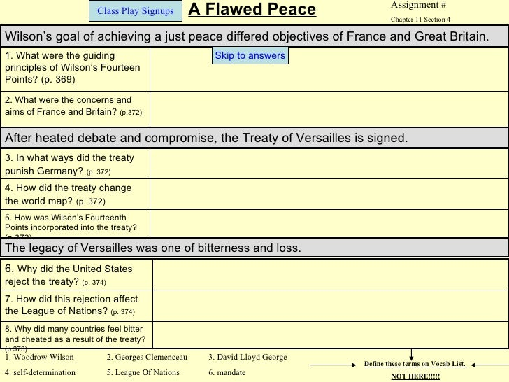 Assignment #                         Class Play Signups           A Flawed Peace                    Chapter 11 Section 4Wi...