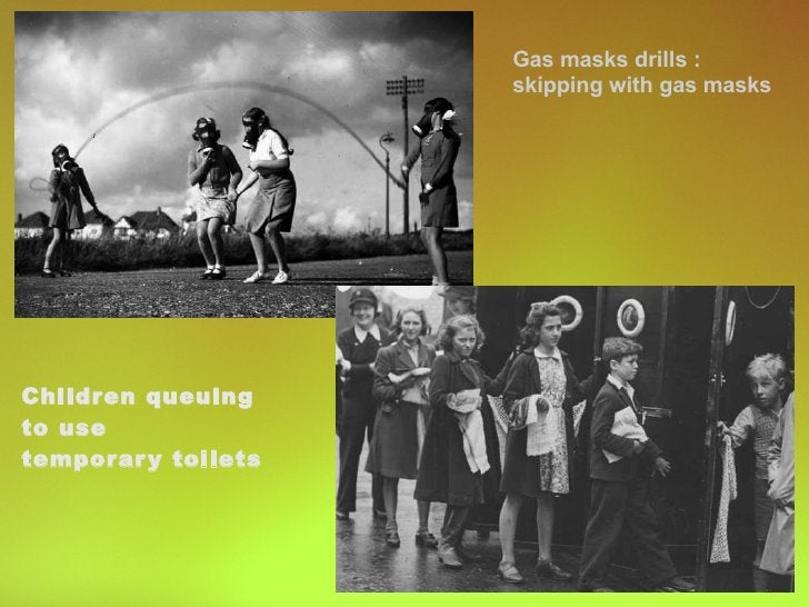 Children queuing  to use  temporary toilets Gas masks drills : skipping with gas masks