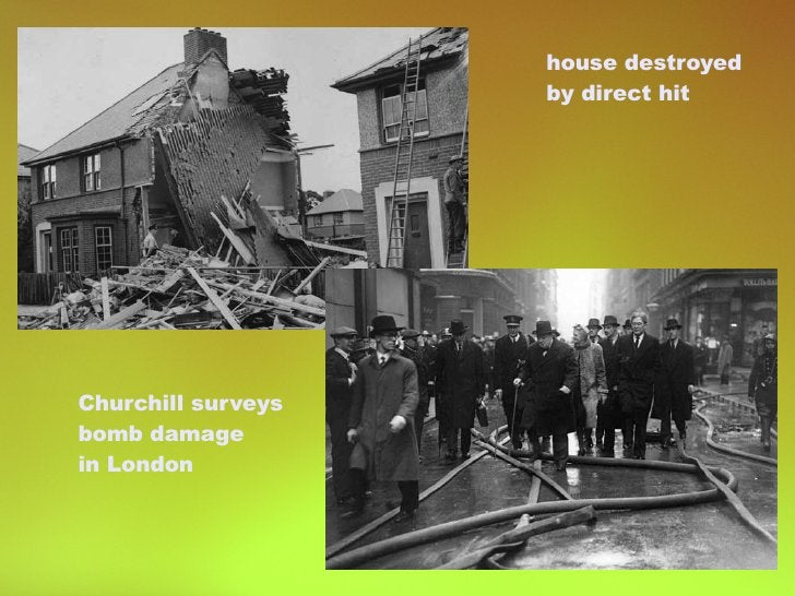 house destroyed by direct hit Churchill surveys bomb damage in London