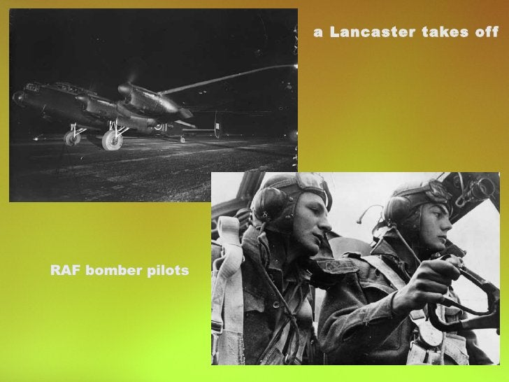RAF bomber pilots a Lancaster takes off