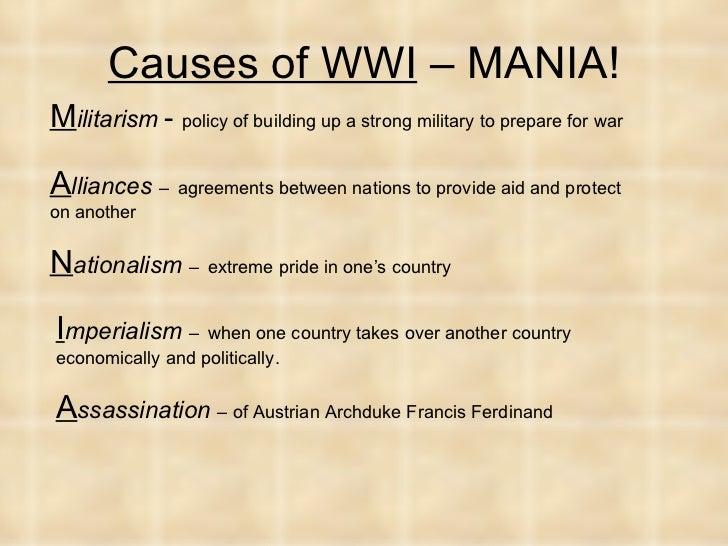 what was the underlying cause of world war 1 dbq