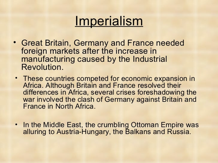 factors that contributed to the imperial expansion of germany great britain france and italy The industrial nations outside europe, particularly the usa, canada and japan, saw their portion of the global market increase, while the portion of global exports of the three big countries in europe (france, great britain, germany) decreased.