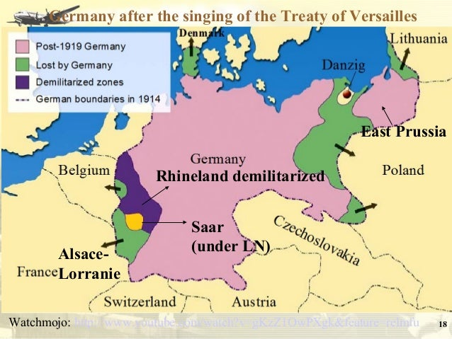 Paris Peace Conference Treaty Of Versailles - Germany map after the versailles treaty