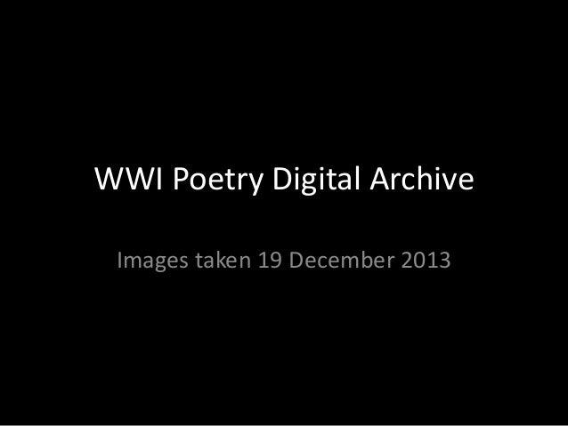 WWI Poetry Digital Archive Images taken 19 December 2013