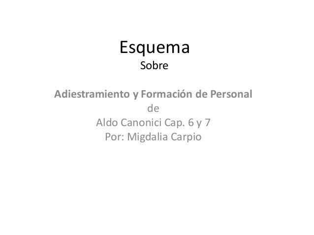 Esquema Sobre Adiestramiento y Formación de Personal de Aldo Canonici Cap. 6 y 7 Por: Migdalia Carpio