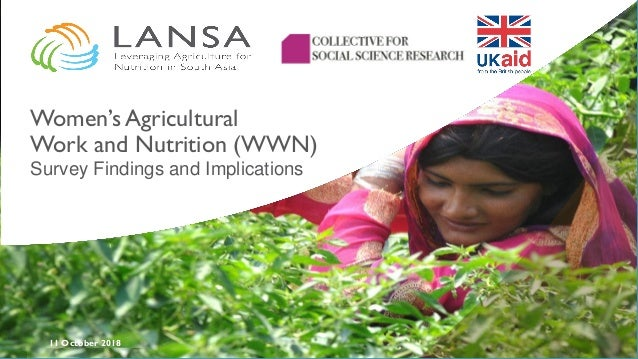 11 October 2018 Women's Agricultural Work and Nutrition (WWN) Survey Findings and Implications