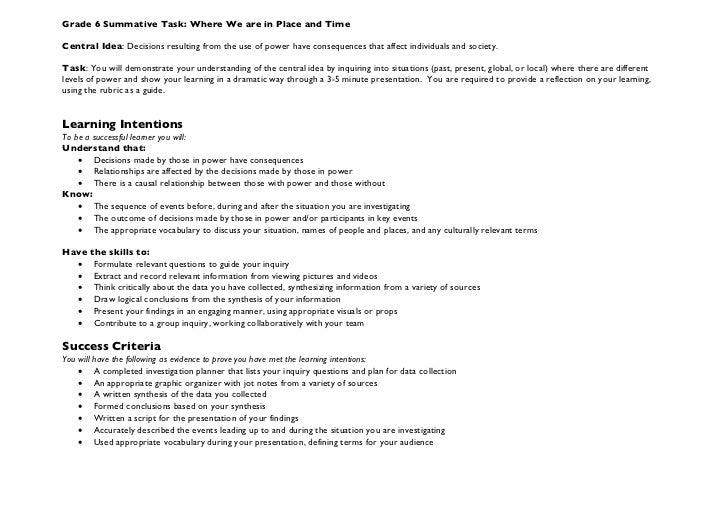 Grade 6 Summative Task: Where We are in Place and TimeCentral Idea: Decisions resulting from the use of power have consequ...
