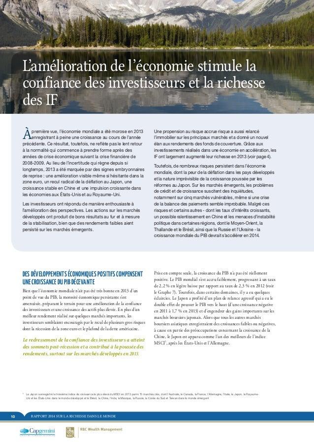 RAPPORT 2014 SUR LA RICHESSE DANS LE MONDE10 DES DÉVELOPPEMENTS ÉCONOMIQUES POSITIFS COMPENSENT UNE CROISSANCE DU PIB DÉCE...
