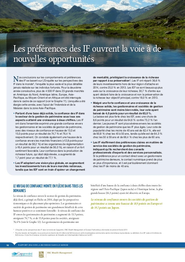 RAPPORT 2014 SUR LA RICHESSE DANS LE MONDE16 bénéficié d'une hausse de la confiance à deux chiffres dans toutes les région...