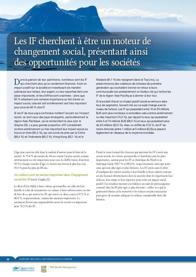 RAPPORT 2014 SUR LA RICHESSE DANS LE MONDE26 Les IF cherchent à être un moteur de changement social, présentant ainsi des ...