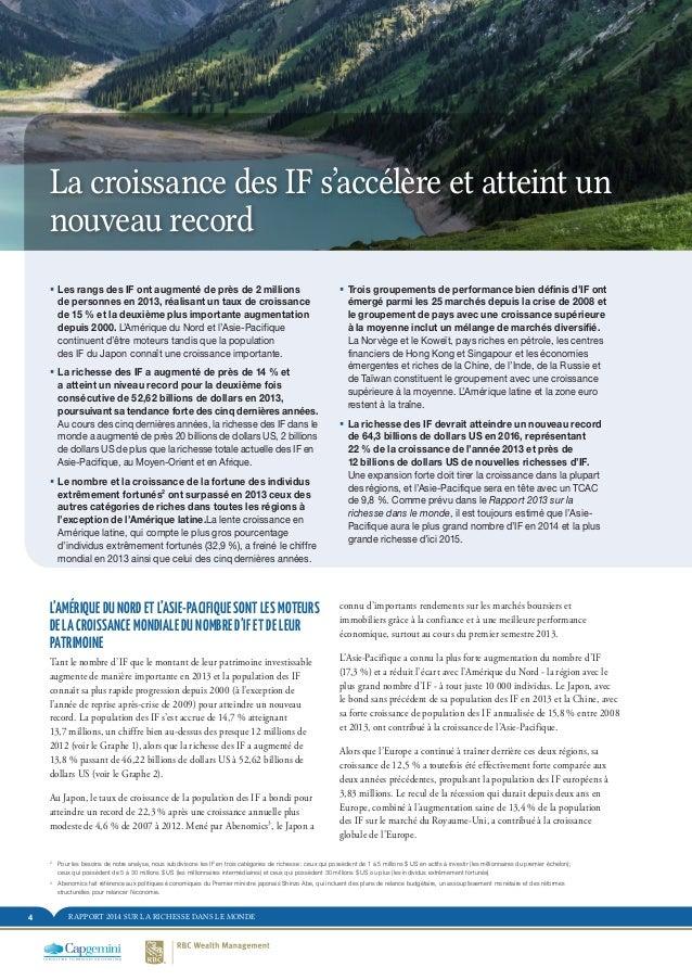 RAPPORT 2014 SUR LA RICHESSE DANS LE MONDE4 La croissance des IF s'accélère et atteint un nouveau record L'AMÉRIQUE DU NOR...