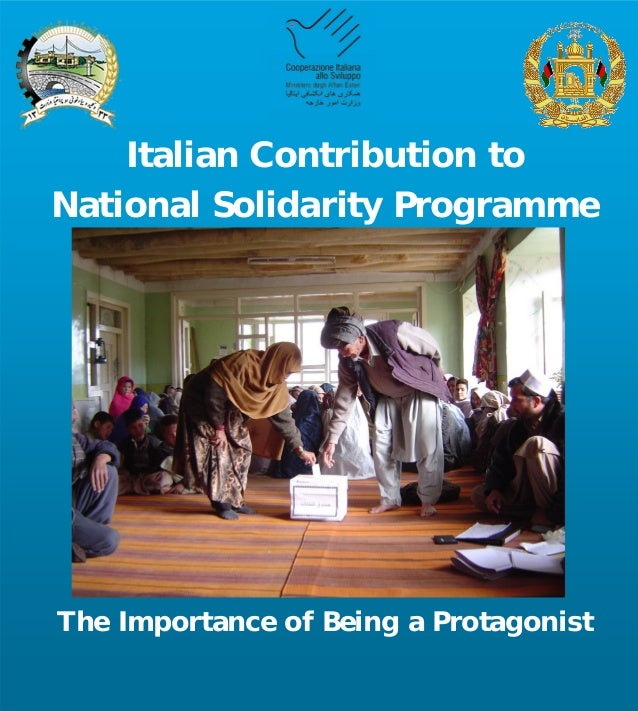 Italian Contribution to National Solidarity Programme The Importance of Being a Protagonist