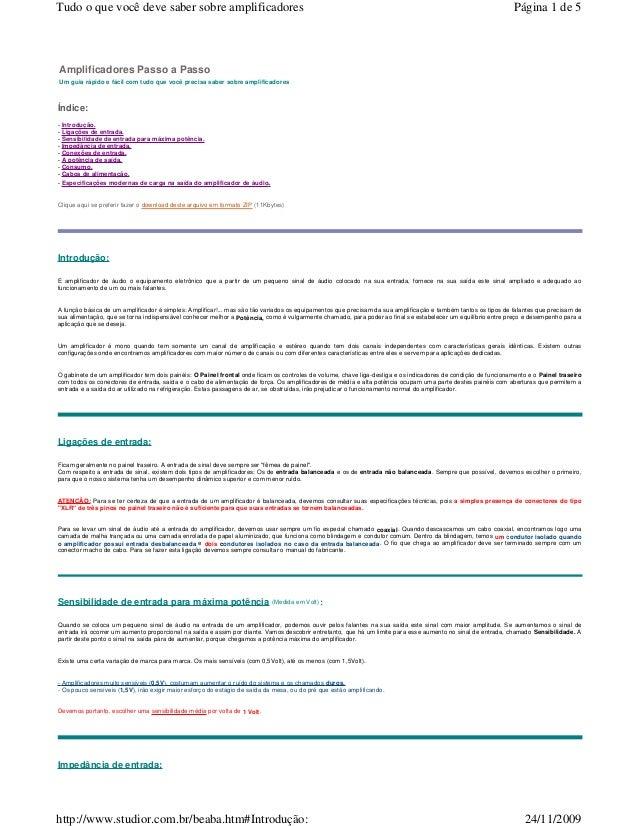 Tudo o que você deve saber sobre amplificadores  Página 1 de 5  Amplificadores Passo a Passo Um guia rápido e fácil com tu...