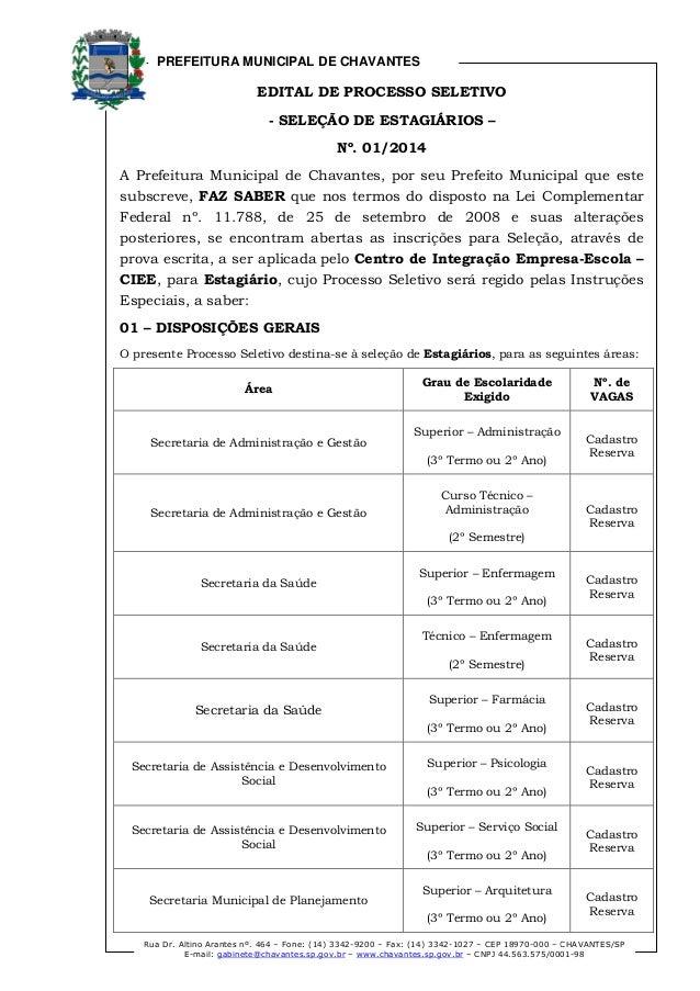 PREFEITURA MUNICIPAL DE CHAVANTES Rua Dr. Altino Arantes nº. 464 – Fone: (14) 3342-9200 – Fax: (14) 3342-1027 – CEP 18970-...