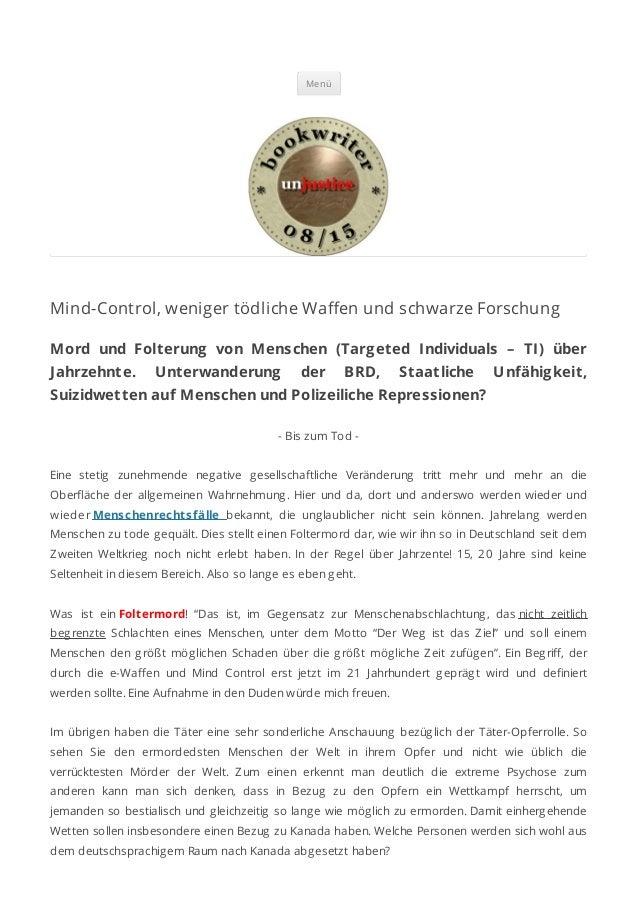 Menü Mind-Control, weniger tödliche Wa en und schwarze Forschung Mord und Folterung von Menschen (Targeted Individuals – T...