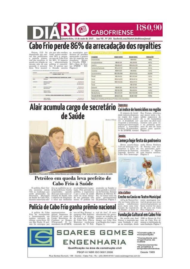 """Jornal Diário Cabofriense - minha coluna """"Cantinho das Ideias"""" 13 de maio"""