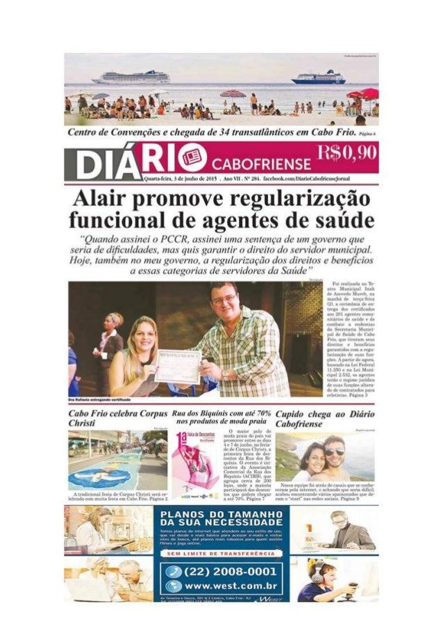"""Jornal Diário Cabofriense - minha coluna """"Cantinho das Ideias"""" 3 de junho"""