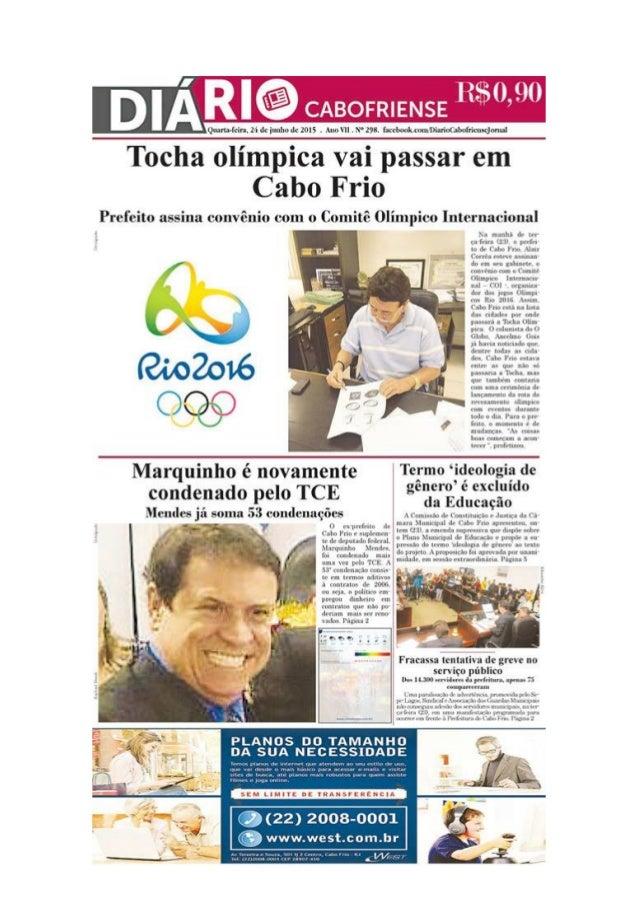 """Jornal Diário Cabofriense - minha coluna """"Cantinho das Ideias"""" 24 de junho"""