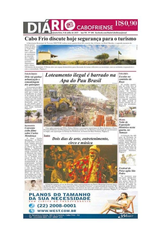 """Jornal Diário Cabofriense - minha coluna """"Cantinho das Ideias"""" 8 de julho de  2015"""