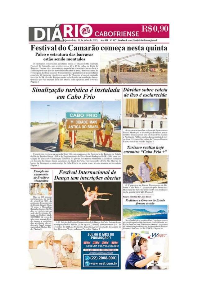 Diário Cabofriense - edição de 22 de julho de 2015 - coluna Cantinho das ideias