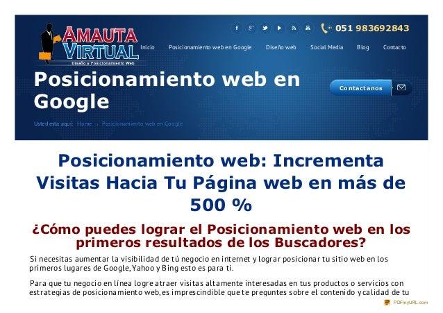 051 983692843                                      Inicio    Posicionamiento web en Google   Diseño web   Social Media    ...