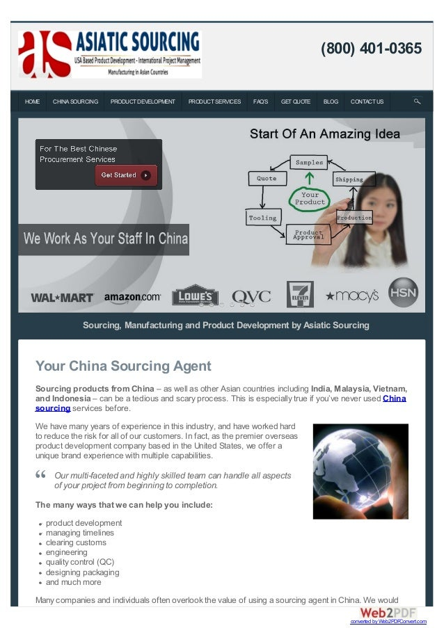 Sourcing, Manufacturing and Product Development by Asiatic Sourcing Your China Sourcing Agent Sourcing products from China...