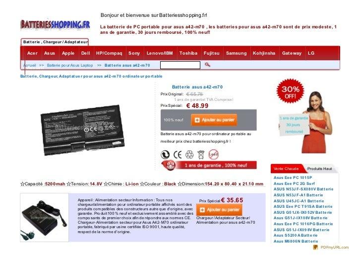 Bonjour et bienvenue sur Batteriesshopping.fr!                                               La batterie de PC portable po...