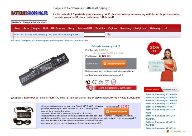 Bonjour et bienvenue sur Batteriesshopping.fr!                                              La batterie de PC portable pou...