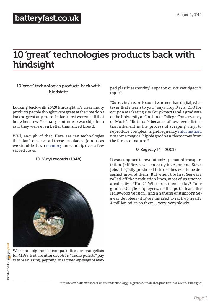August 1, 2011                 batteryfast.co.uk                10 'great' technologies products back with                ...