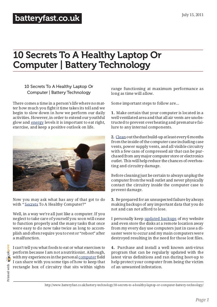 July 15, 2011                 batteryfast.co.uk                10 Secrets To A Healthy Laptop Or                Computer |...