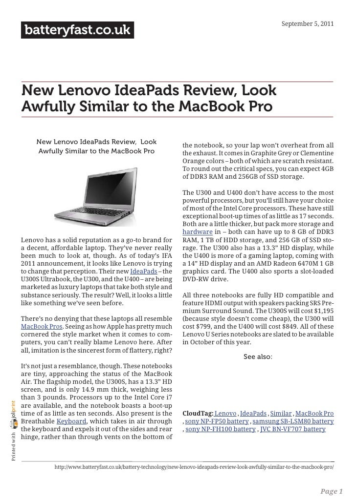 September 5, 2011                 batteryfast.co.uk                New Lenovo IdeaPads Review, Look                Awfully...