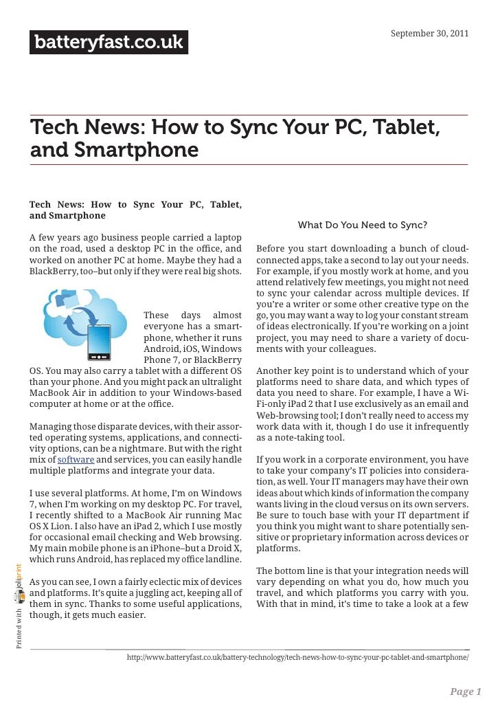 September 30, 2011                 batteryfast.co.uk                Tech News: How to Sync Your PC, Tablet,               ...