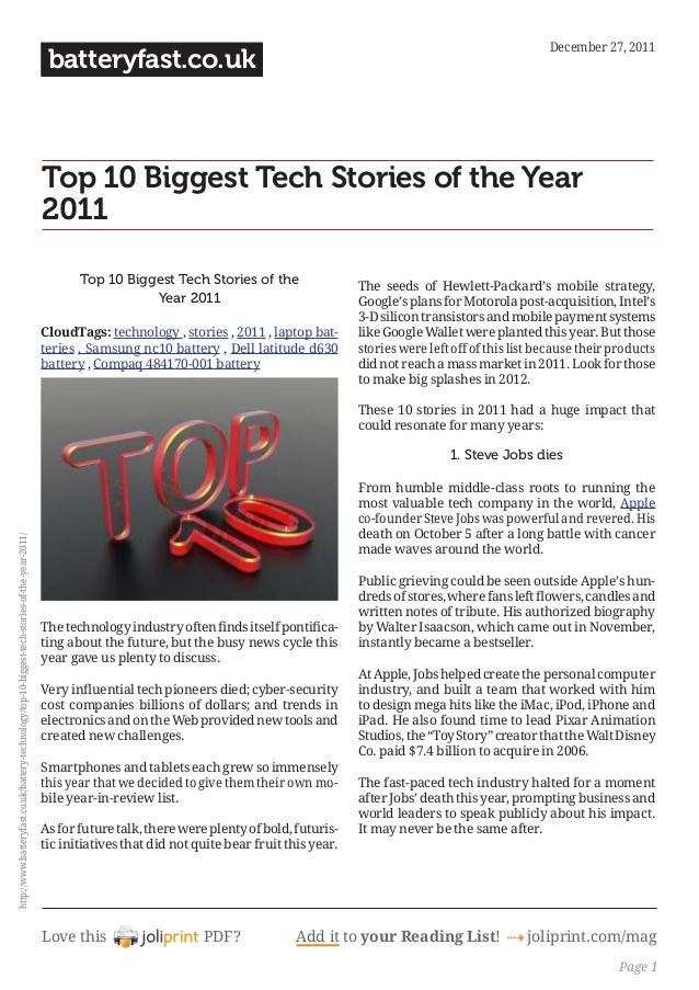 Love this PDF? Add it to your Reading List! 4 joliprint.com/mag batteryfast.co.uk Top 10 Biggest Tech Stories of the Year ...