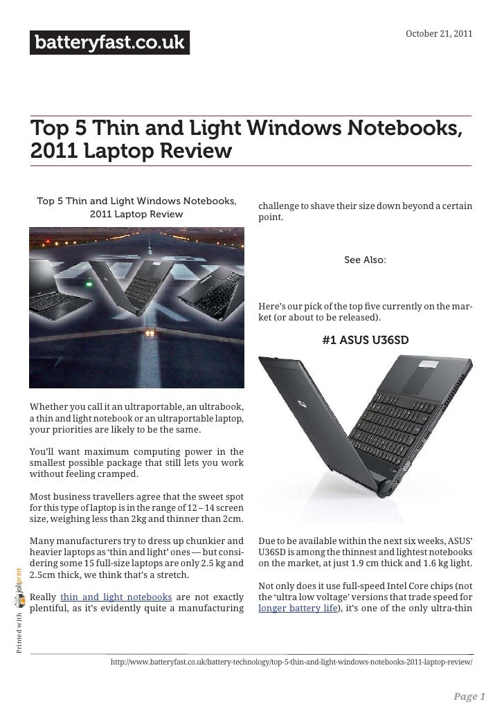 October 21, 2011                 batteryfast.co.uk                Top 5 Thin and Light Windows Notebooks,                2...