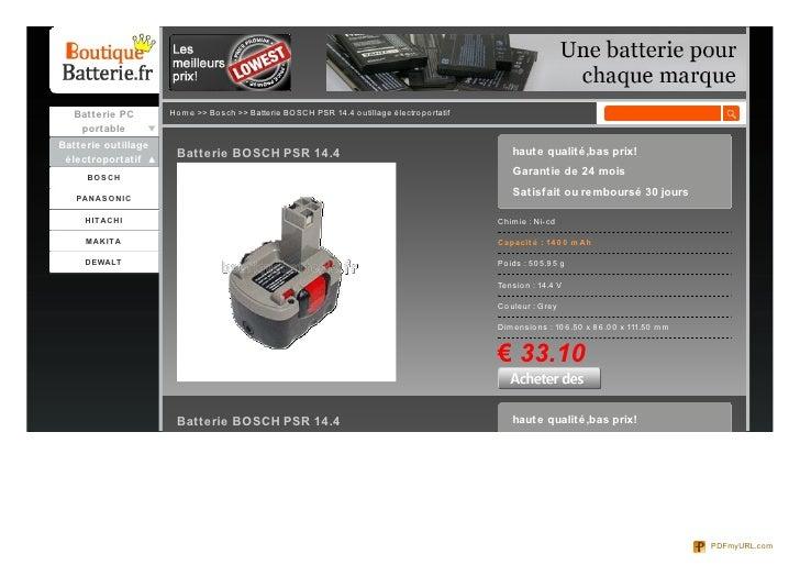 Batterie PC       Ho me >> Bo sch >> Batterie BOSCH PSR 14.4 o utillage électro po rtatif    portableBatterie outillage   ...