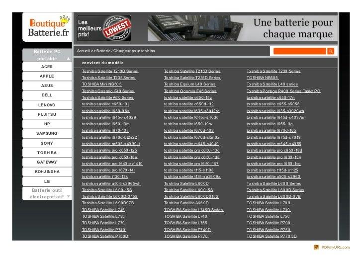 Batterie PC      Accueil >> Batterie / Chargeur po ur to shiba  portable                    co nvie nt du m o dè le     AC...