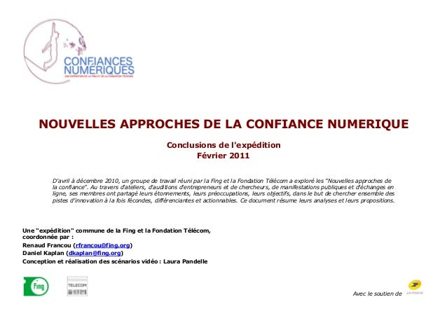 NOUVELLES APPROCHES DE LA CONFIANCE NUMERIQUE                                                    Conclusions de lexpéditio...