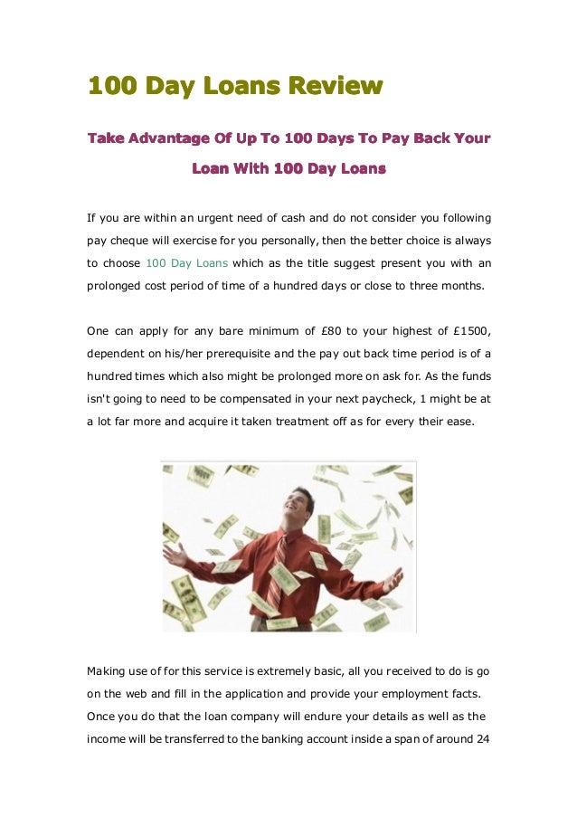100100100100 DayDayDayDay LoansLoansLoansLoans ReviewReviewReviewReviewTakeTakeTakeTake AdvantageAdvantageAdvantageAdvanta...