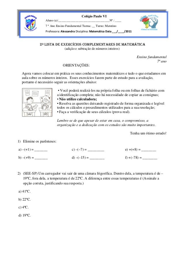 Colégio Paulo VI                  Aluno (a):_________________________________Nº.: ____                  7 º Ano Ensino Fun...