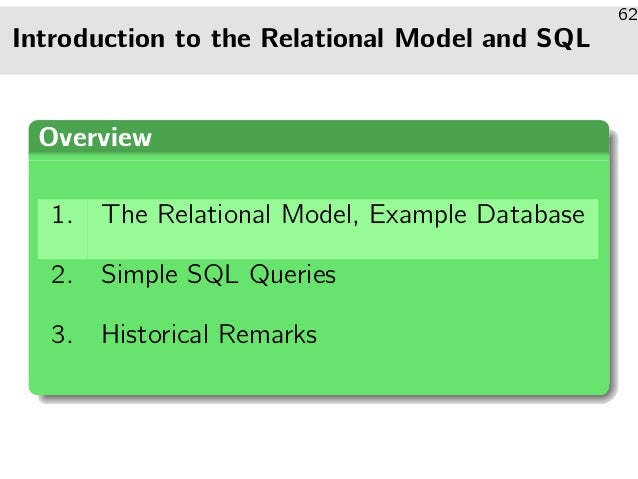 Introduction to the Relational Model