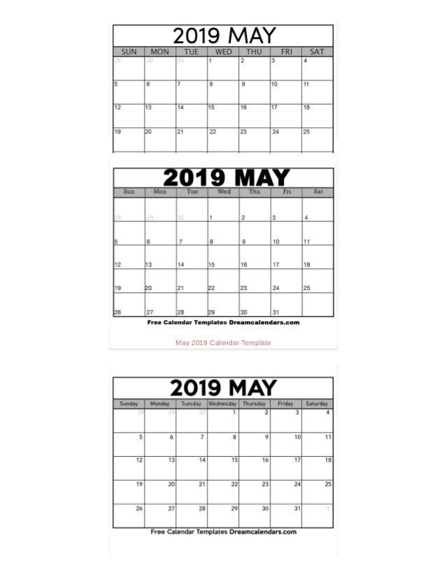 Printable May 2019 Calendar