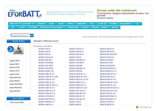 Avec www.ef orbatt.com plus de 15000 réf érence de                                                                        ...