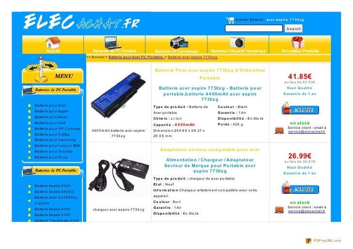 Acheter Batterie : ace r aspire 7 7 36 zg                                                                                 ...