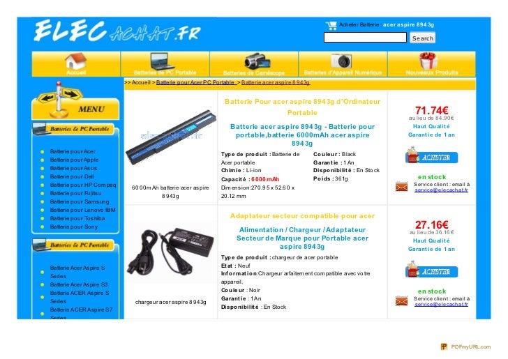 Acheter Batterie : ace r aspire 89 4 3g                                                                                   ...