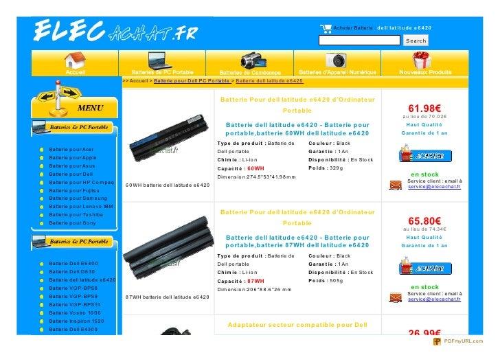 Acheter Batterie : de ll lat it ude e 6 4 20                                                                              ...