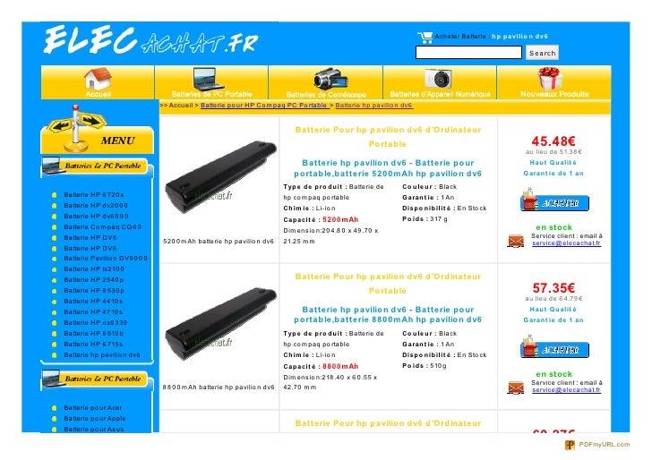 Acheter Batterie : hp pavilio n dv6                                                                                       ...